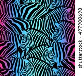 colorful zebra seamless pattern.... | Shutterstock .eps vector #497900698