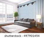 modern bright interior . 3d... | Shutterstock . vector #497901454