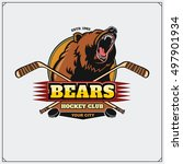 hockey club emblem with head of ... | Shutterstock .eps vector #497901934