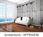 modern bright interior . 3d... | Shutterstock . vector #497904538
