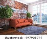 modern bright interior . 3d... | Shutterstock . vector #497905744