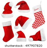 santa claus hats and christmas... | Shutterstock . vector #497907820