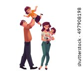 father  mother  daughter and... | Shutterstock .eps vector #497908198