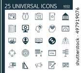 set of 25 universal icons on pc ... | Shutterstock .eps vector #497919076