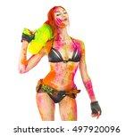 happy holi indian festival...   Shutterstock . vector #497920096