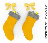 Yellow Christmas Stockings On...