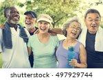senior group friends exercise... | Shutterstock . vector #497929744
