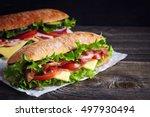 Two Fresh Submarine Sandwiches...