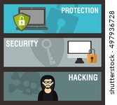 internet security related icons ... | Shutterstock .eps vector #497936728