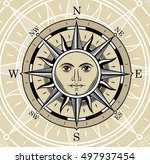 compass in the form of the sun. ... | Shutterstock .eps vector #497937454