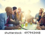 group of people drinking... | Shutterstock . vector #497943448