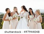 summer sun shines over bride... | Shutterstock . vector #497944048