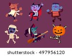 set of halloween characters... | Shutterstock .eps vector #497956120