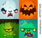 cartoon monster faces vector... | Shutterstock .eps vector #497957320