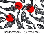 seamless pattern with koi carp...   Shutterstock .eps vector #497964253