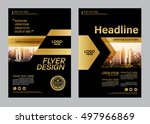gold brochure layout design... | Shutterstock .eps vector #497966869
