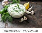 tzatziki sauce with ingredients ... | Shutterstock . vector #497969860