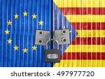 eu and catalonia flag on door... | Shutterstock . vector #497977720