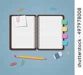 opened notebook with colored... | Shutterstock .eps vector #497978008