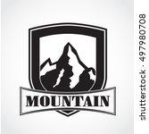 silhouette mountain shield logo | Shutterstock .eps vector #497980708