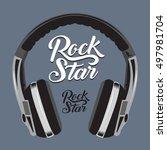 music rock headphone typography ... | Shutterstock .eps vector #497981704