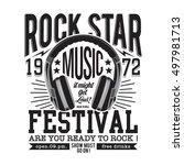 rock music typography  t shirt... | Shutterstock .eps vector #497981713