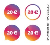 20 euro sign icon. eur currency ... | Shutterstock .eps vector #497982160