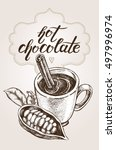 hot chocolate in a cup with... | Shutterstock .eps vector #497996974