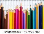 used colors pencil on a dirty... | Shutterstock . vector #497998780