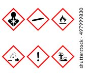 hazard sign. danger. set of... | Shutterstock .eps vector #497999830