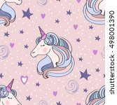 unicorns seamless pattern.... | Shutterstock .eps vector #498001390