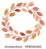 watercolor autumn wreath with... | Shutterstock . vector #498006460