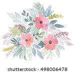 beautiful watercolor bouquet... | Shutterstock . vector #498006478