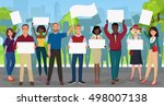 protest people with placards... | Shutterstock .eps vector #498007138