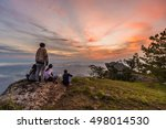 sunrise on a cliff at dawn. | Shutterstock . vector #498014530