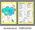 cute colorful meal kids menu... | Shutterstock .eps vector #498016960