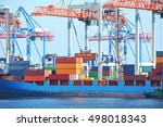 container stack and ship under... | Shutterstock . vector #498018343