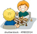 boys playing chess   vector | Shutterstock .eps vector #49802014