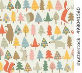 seamless pattern with cute... | Shutterstock .eps vector #498041560