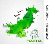 illustration of pakistan's map... | Shutterstock .eps vector #498044899