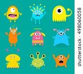 monster big set. cute cartoon... | Shutterstock . vector #498060058