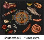 barbecue grill top view with... | Shutterstock .eps vector #498061096