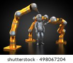 3d rendering  three robots are... | Shutterstock . vector #498067204