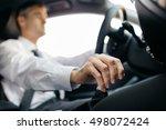 businessman driving to work ... | Shutterstock . vector #498072424
