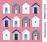 Multicolor Beach Huts Vector...