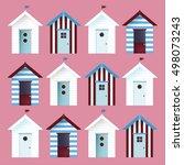 Multicolor Beach Huts. Vector...