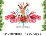 watercolor christmas background | Shutterstock . vector #498073918