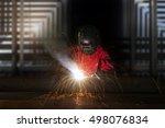 welder and construction concept ... | Shutterstock . vector #498076834