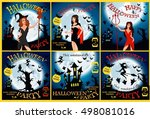 halloween party. witch  ghost ... | Shutterstock .eps vector #498081016