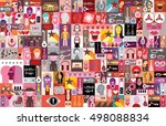 large vector pop art collage of ... | Shutterstock .eps vector #498088834